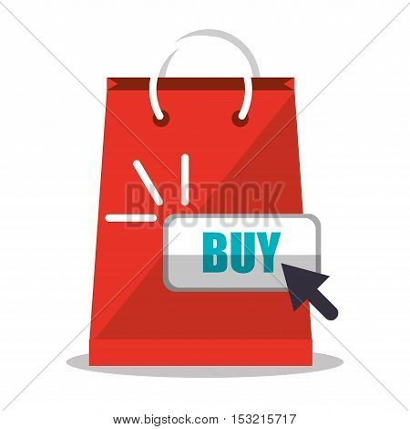Bag and cursor icon. Shopping online ecommerce media and market theme. Colorful design. Vector illustration