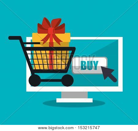 Computer gift and cart icon. Shopping online ecommerce media and market theme. Colorful design. Vector illustration