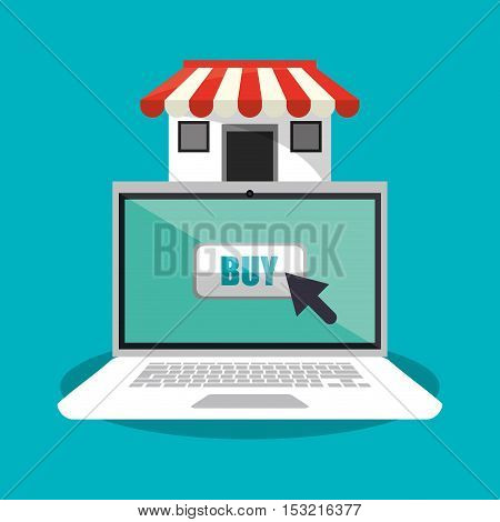 Laptop and store icon. Shopping online ecommerce media and market theme. Colorful design. Vector illustration
