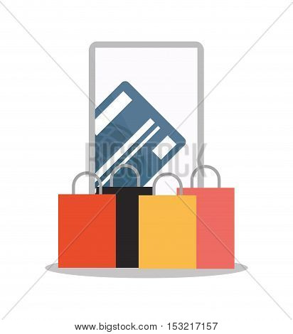 Smartphone bag and credit card icon. Shopping online ecommerce media and market theme. Colorful design. Vector illustration