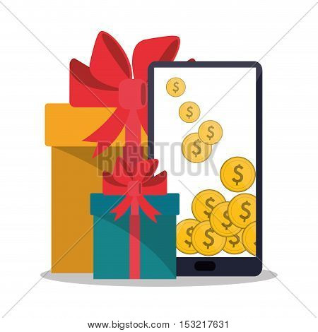 Smartphone coins and gifts icon. Shopping online ecommerce media and market theme. Colorful design. Vector illustration