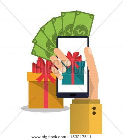Smartphone gift and bills icon. Shopping online ecommerce media and market theme. Colorful design. Vector illustration