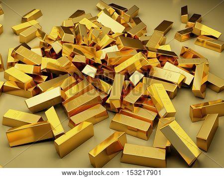 Large pile of gold bars. 3D illustration.