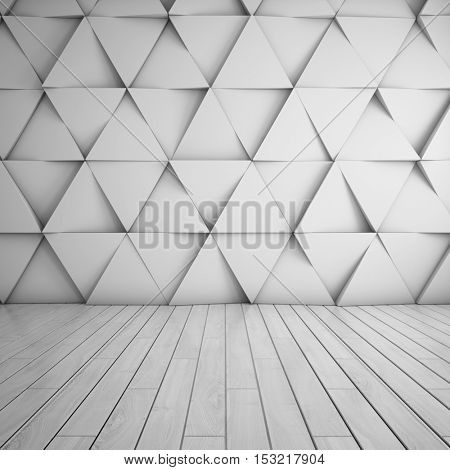 Design of room with wall in abstract style. 3D illustration.