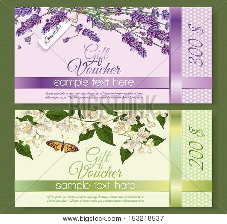 Vector natural cosmetics gift vouchers with flowers. Design for cosmetics, store, beauty salon, natural and organic products, health care products, aromatherapy. With place for text