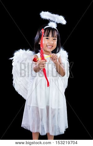 Happy Asian Chinese Little Angel With Bow And Arrow