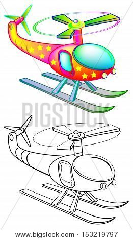 Colorful and black and white pattern of flying helicopter, vector cartoon image.