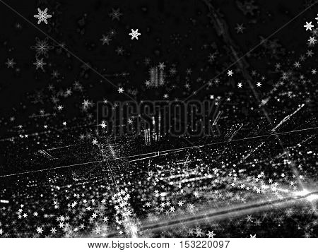 Abstract dark blur - computer-generated image. Fractal art: blurred background with chaos lines, dots and stars or snowflakes. Backdrop for cards, posters, banners.