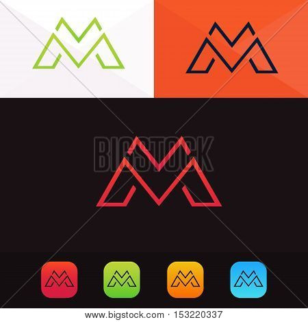 M letter logo company sign vector design