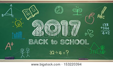 Back to School 2017 message with colorful hand drawings