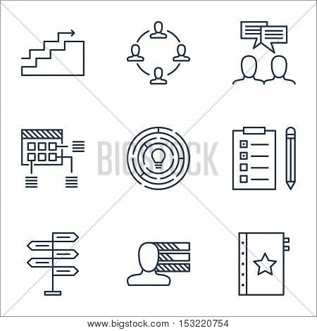 Set Of Project Management Icons On Discussion, Schedule And Collaboration Topics. Editable Vector Il