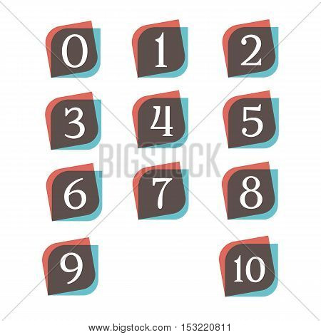 Numbers retro signs digit symbols logo company vector design