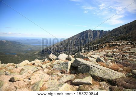 View of Knife Edge in Mt Katahdin in Maine