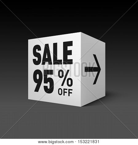 Cube Banner Template for Holiday Sale Event. Ninety-five Percent off Discount