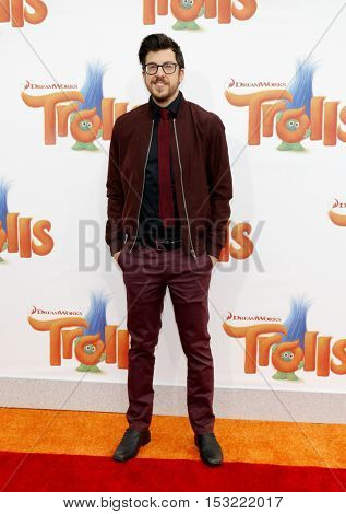Christopher Mintz-Plasse at the Los Angeles premiere of 'Trolls' held at the Regency Village Theatre in Westwood, USA on October 23, 2016.