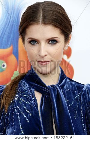 Anna Kendrick at the Los Angeles premiere of 'Trolls' held at the Regency Village Theatre in Westwood, USA on October 23, 2016.