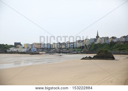 Town of Tenby along the coast of Wales.
