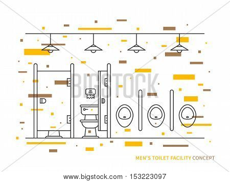 Washroom with urinals and closet basin for men vector illustration. Public toilet line art concept. Male restroom outline graphic design.