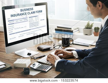 Business Insurance Claim Form Application Concept