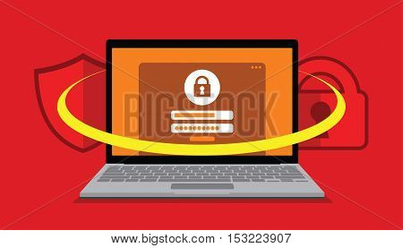 security system user account protection vector illustration