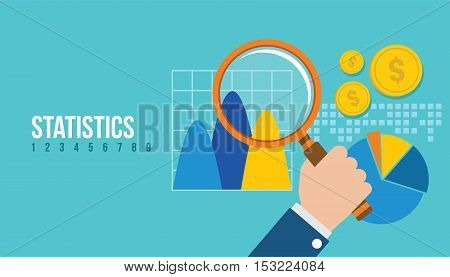 financial statistics report graph vector illustration concept design