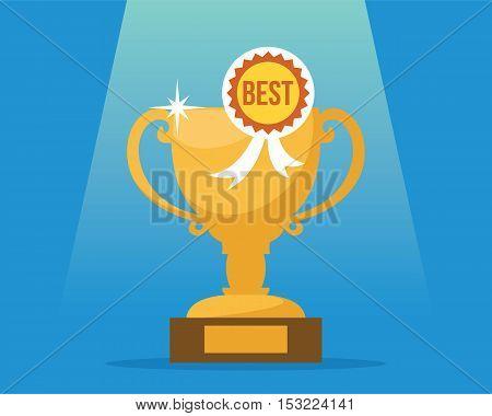 victory trophy number one winner vector illustration