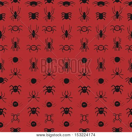 Seamless pattern with spiders. unique hand drawn illustration. Halloween Vector backgrounds.