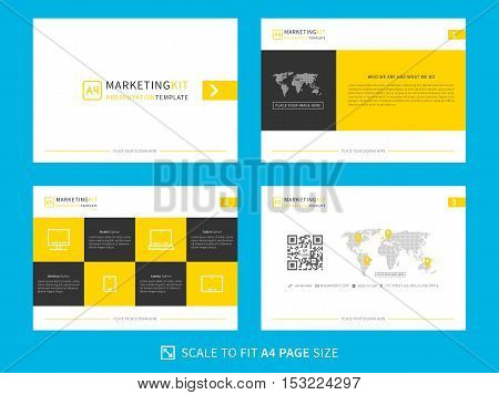 Marketing kit presentation vector template. Modern business presentation creative design. Power layout with yellow and black design diagrams and charts. Easy to use edit and print.