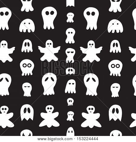Seamless pattern with ghosts. halloween hand drawn background.