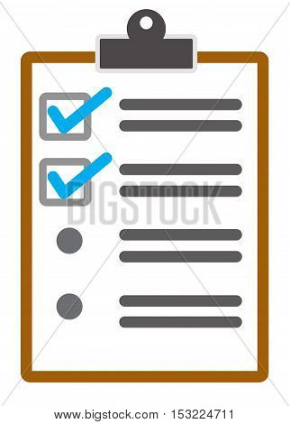 checklist page icon style in flat symbol.