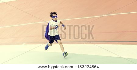Superhero Boy Brave Running Activity Concept