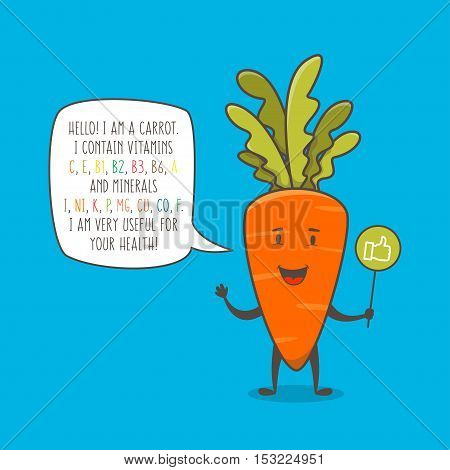 Carrot cartoon character vector illustration. Organic vegetable with text about vitamins and minerals graphic design. Healthy natural food for your health creative concept. Cartoon carrot for kids education.