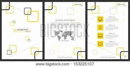 Marketing kit presentation vertical vector template. Modern business presentation graphic design. Flat presentation template with yellow squares diagrams and charts. Marketing kit presentation A4 template. Easy to use edit and print.