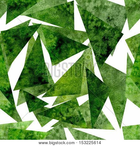 Seamless Abstract Pattern with Watercolor Bright Green Triangles