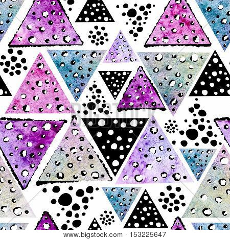 Watercolor Seamless Pattern with Hand Drawn Colorful Triangles