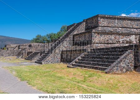 Small Pyramids at the Avenue of the Dead in Teotihuacan Mexico.