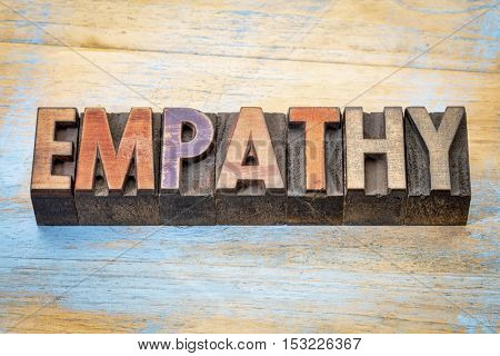 empathy word abstract - text in vintage letterpress wood type blocks against grunge wood