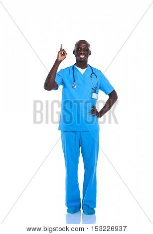 Doctor man with stethoscope point finger up