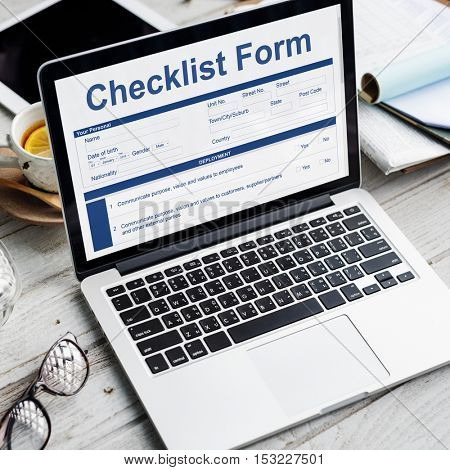 Checklist Form Application Questionnaire Concept