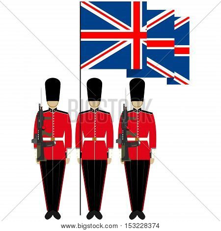 Soldiers Guard of Honour with a flag. The illustration on a white background.