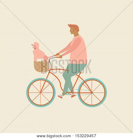 Bicycle rider in vector. Funny cartoon character a man riding a bicycle with little dog in bike basket. Love pet dog poodle illustration. Cruising small dog bicycle carrier and pet basket for biking