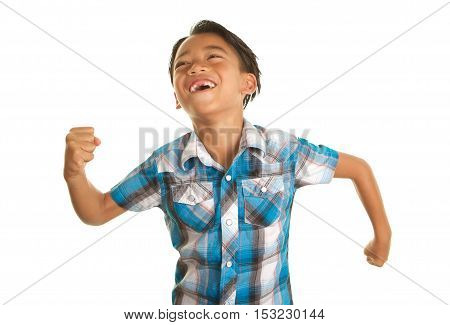 Cute Filipino Boy on a White Background waving his fists around being silly and excited