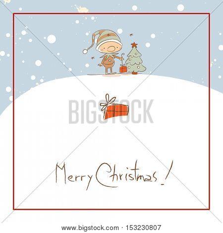 Christmas elf, Merry Christmas greeting card. Sketchy doodle style hand drawn seasonal vector illustration.