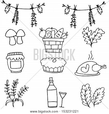 Doodle of thanksgiving stock collection vector art