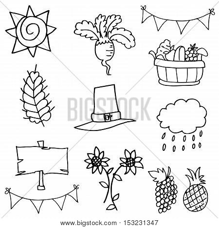 Stock collection thanksgiving element doodles vector art