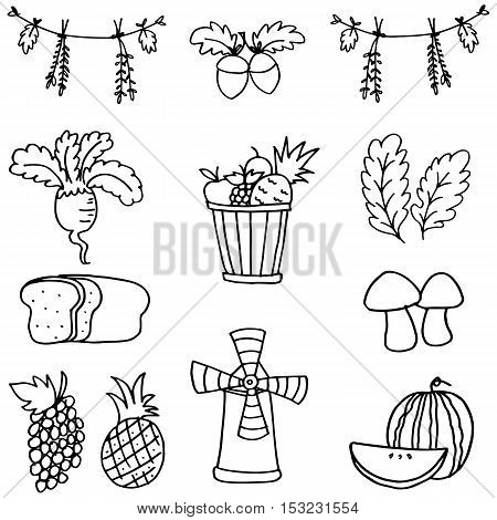 Doodle of stock thanksgiving set vector illustration