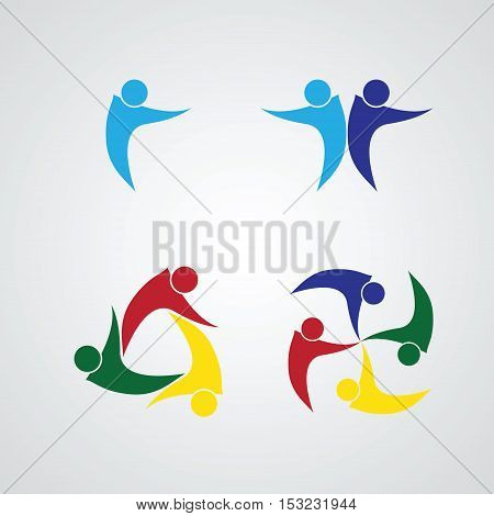 set of Teamwork Meeting . people icon. people friends logo concept vector icon. this icon also represents friendship, partnership cooperation unity,