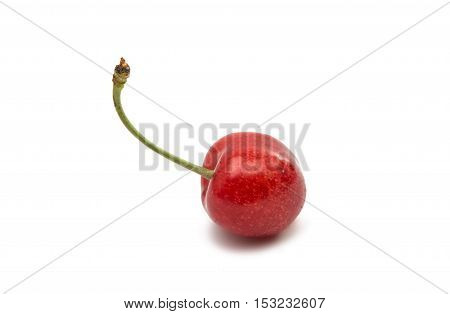 Red cherries isolated on a white background
