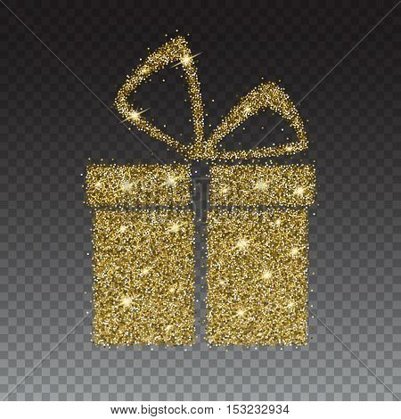 Icon of Gift box with gold sparkles and glitter, glow light confetti, bright sequins, sparkle tinsel, shimmer dust. Gift box sign isolated on transparent background