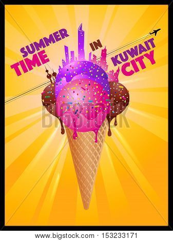 Summer Time In Kuwait City - Melting Ice Cream City Silhouettes Concept